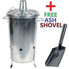 18 Litre Small Home Garden Metal Incinerator Fire Burning Bin + Free Ash Shovel