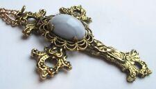 collier grand pendentif chaîne couleur or pierre gemme irisé bijou vintage 1569