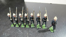 g Britains Toy Soldiers Lead British Army Blue Uniforms White Helmets Marching