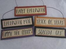 Primitive Halloween Themed Signs / Ornaments fun creeps trick treat cat RO-113
