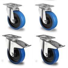 Satz Blue Wheels 100 mm Lenkrollen Bremse Transportrollen Platte