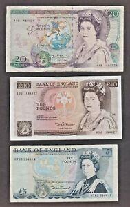 BANK OF ENGLAND SOMERSET 1984 £20 1980 £10 & £5 BANKNOTES TWENTY TEN FIVE POUNDS
