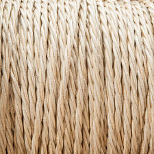 Cream Twisted Braided Fabric Cable 3-Core 0.5mm for lighting