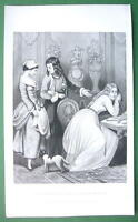 GIRLS Happiness Better than Wealth - VICTORIAN Antique Print