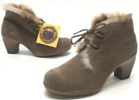 Maxine of Canada Womens Brown/Tan Suede Lined Lace Up Ankle Boots Size 10M