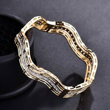 18k Yellow Gold Filled Glowing Womens Sapphire Crystal Bangle Cuff Bracelets