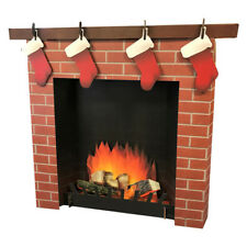 3D FIREPLACE Mantle CARDBOARD CUTOUT Standee Standup Stockings FREE SHIPPING