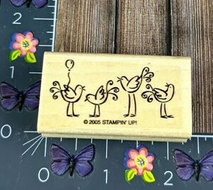 Stampin' Up! Four Birds Balloon Rubber Stamp 2005 Wood Mount #D86
