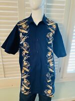 Rum Reggae Mens Large Hawaiian Cabana Shirt Camp Marlin Fish Swordfish Cotton XL