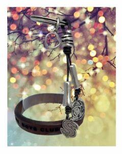 Billionaire Boys Club X Ciclon Collab Key Chain+Engraved Leather Bracelet Combo