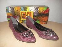 Falchi Shoes Size 7 M Womens New Reese Merlot Leather Ballet Flats NWB