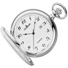 DUGENA Taschenuhr Savonette mit Kette Uhr Herrenuhr Datum Analog weiss 4460636