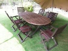 Wood Garden Table and Six Chairs