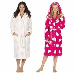 Forever Dreaming Ladies Womens Super Soft Heart Hooded Robe Dressing Gown
