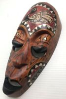 Mask African Face Goose Tribal Wood Carved Hand Art Tiki Figure Shell Swan Duck