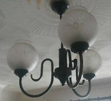 """Black 3 Globe Frosted Glass Hand Painted Ceiling Lights aprox H 17"""" Coll PE7"""