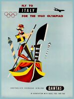 Fly to Italy for the 1960 Olympiad Vintage Airline Travel Art Poster Print
