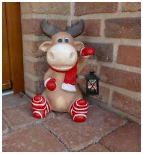 XXL Weichnachts Figur Elch mit Laterne Weihnachten Dekofigur Teelichthalter
