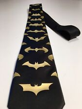 Batman Necktie , New, Black Tie - Gold Logos, Really Cool