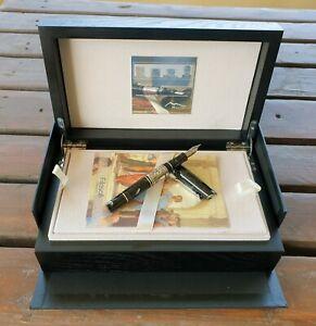 Maita Platone L.E. 100 pcs Fountain Pen Italian Resin, Silver. Gold Nib Wood Box