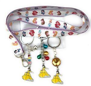 Belle princess lanyard with optional keyring - various designs