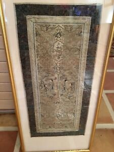 """Antique Qing Chinese silk embroidered QUALITY hanging 23"""" x 10.5"""" frame 32x15"""""""