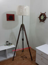 Marine Tripod Floor Lamp Retro Vintage Brown Wooden Tripod Lamp Shade Home Decor