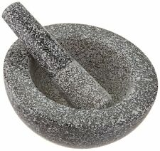 "Granite Mortar and Pestle Solid Natural Design 6.5"" Large Herb Spices Grinder"