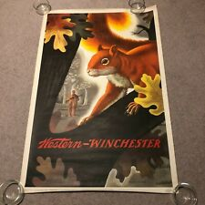 "RARE Original 1955 Winchester Squirrel Hunting 28"" x 42"" Advertising Poster"