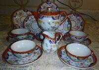 Japan 17PC HP Childs Tea Set Teapot Creamer Sugar Plates Cups Saucers Red Blue
