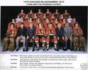 1978 CHICAGO BLACKHAWKS CONN SMYTHE DIVISION CHAMPS 8X10 TEAM PHOTO