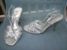 NINA METALLIC SILVER LEATHER OPEN TOE HIGH HEELS STRAPPY SIZE 7 M