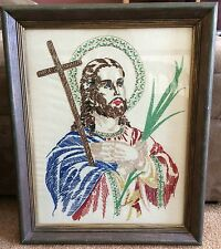 """Vintage Completed Embroidery Jesus W/ Cross & Palms 23"""" x 19"""" Framed Needlework"""