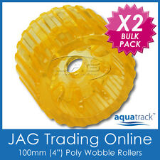 "2 x 100mm 4"" SOLID POLYURETHANE WOBBLE ROLLERS BOAT TRAILER YELLOW NON-MARKING"