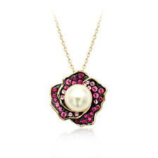 18K Rose Gold Plated Made With Swarovski Simulated Pearl Rose Purple Necklace