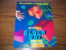 TECHNOS BLOCK OUT VIDEO ARCADE GAME FLYER BROCHURE 1989