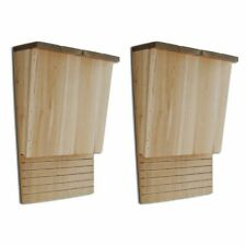 2x Bat Box House Shelter Single Chamber Weatherproof Solid Wood Garden Outdoor