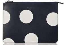 LK Bennett Navy/White spot Robyn small leather pouch bag