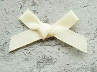 Cream Small Mini Satin Ribbon Bows Ready Made 7mm Wide Arts & Craft Sewing