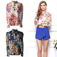 EG_ Women's Floral Print Long Sleeve Loose Casual Chiffon Blouse Shirt Tops Sanw