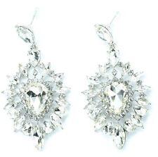 Silver Tone Crystal Style Drop Down Dangle Chandelier Earrings New BOHO Fashion