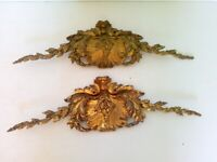 Pair Of Pediment Ornament Of Furniture Bronze Antique Style Louis XVI