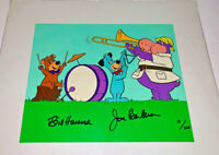 Hucklberry Hound Cel Hanna Barbera Signed Hucks Band Boo Boo Bear Animation Cell