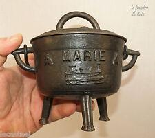 chaudron en fonte de conches dédicatoire à marie et daté 1894 - locomotive