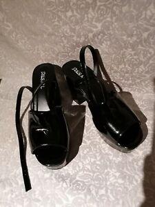 Dolls Kill Black Ladies Designer Fetish Goth Strap Heels Shoes Size UK 6