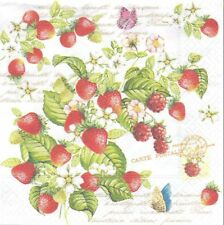 Lot de 2 serviettes en papier Fraises Romatiques Decoupage Collage Decopatch