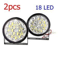 2xUniversal 18LED Round Daytime Running Light Bulbs DRL Car Fog Day Driving Lamp