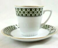 Vintage White with Green Gold Trim Demitasse Tea Cup and Saucer Made in China