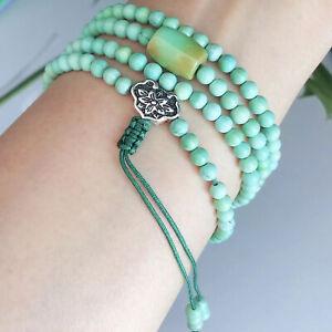 Natural Turquoise Bracelet buddhist Prayer Lotus Charm Healing Gemstone Talisman