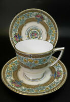 Mintons Tea Cup Saucer Set Pink Bone China Demitasse Pink Purple Aqua Roses